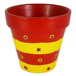 Рачно боена керамичка саксија ф100 - Црвено-жолта