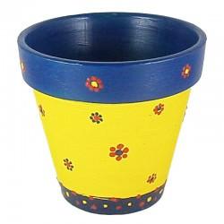 Рачно боена керамичка саксија ф100 - Жолто-сина